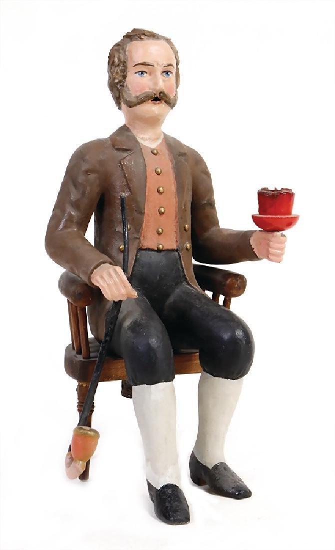 little smoking  man, papier mâché, 30 cm, partially