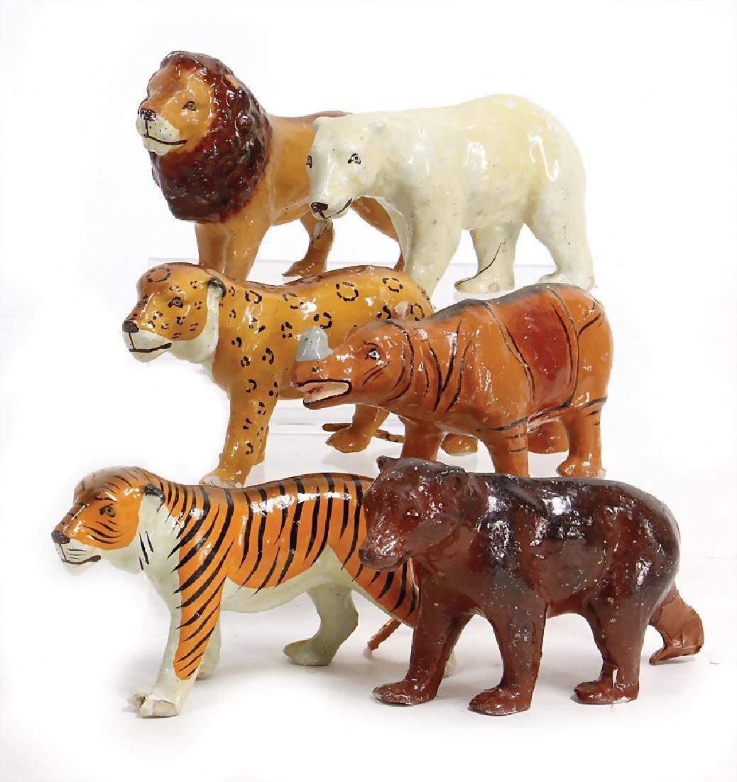6 pieces, menagerie animals, papier mâché, 14 -16.5 cm,