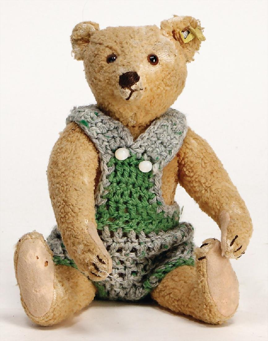 STEIFF bear, wool plush, 25 cm, with button, rests of