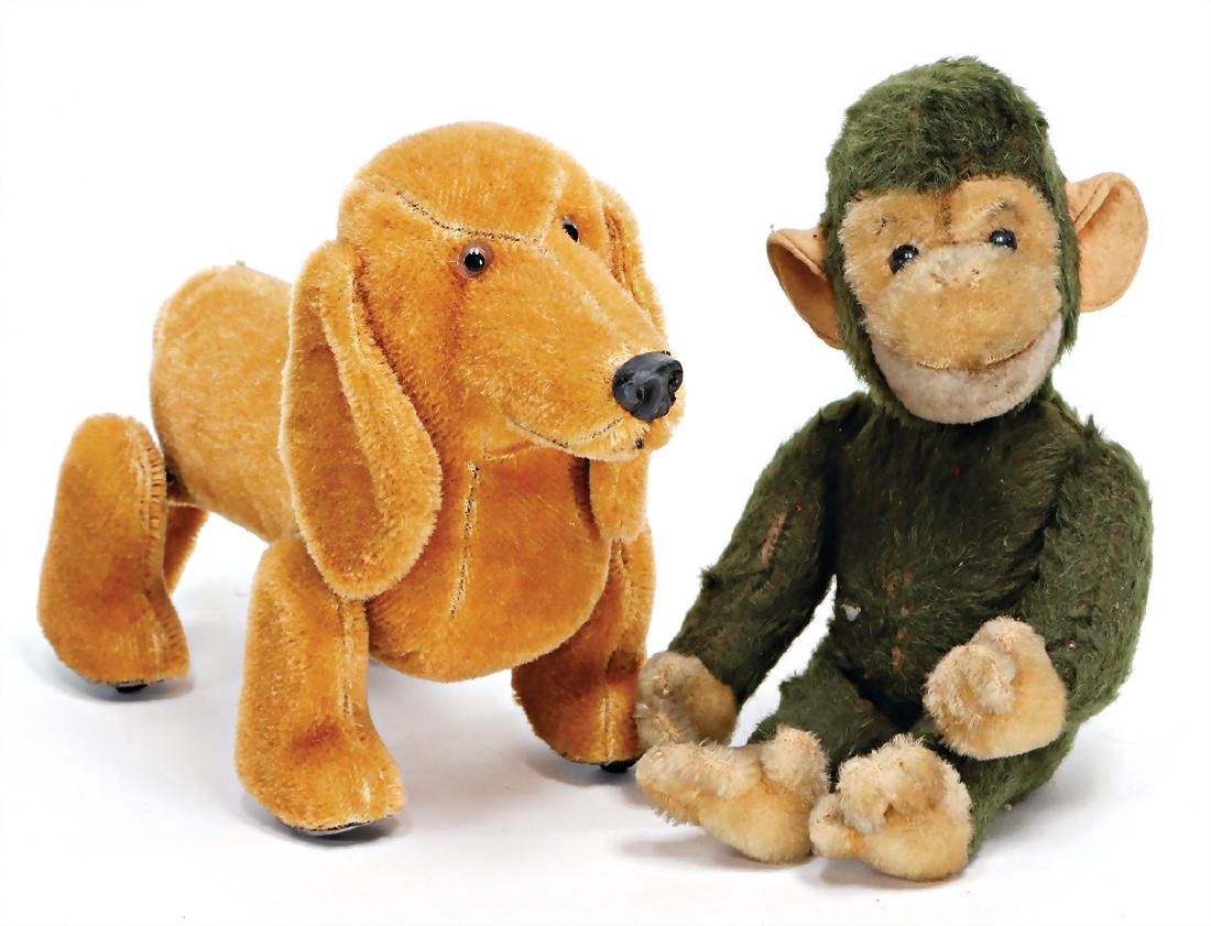 SCHUCO 2 pieces, 1 Tricky monkey, 26 cm, used, fabric
