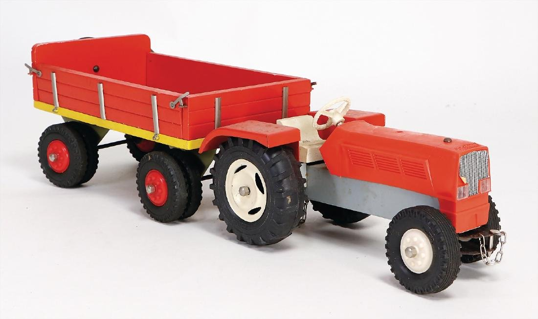 STEIFF tractor, 22.5 cm, with trailer, wood and