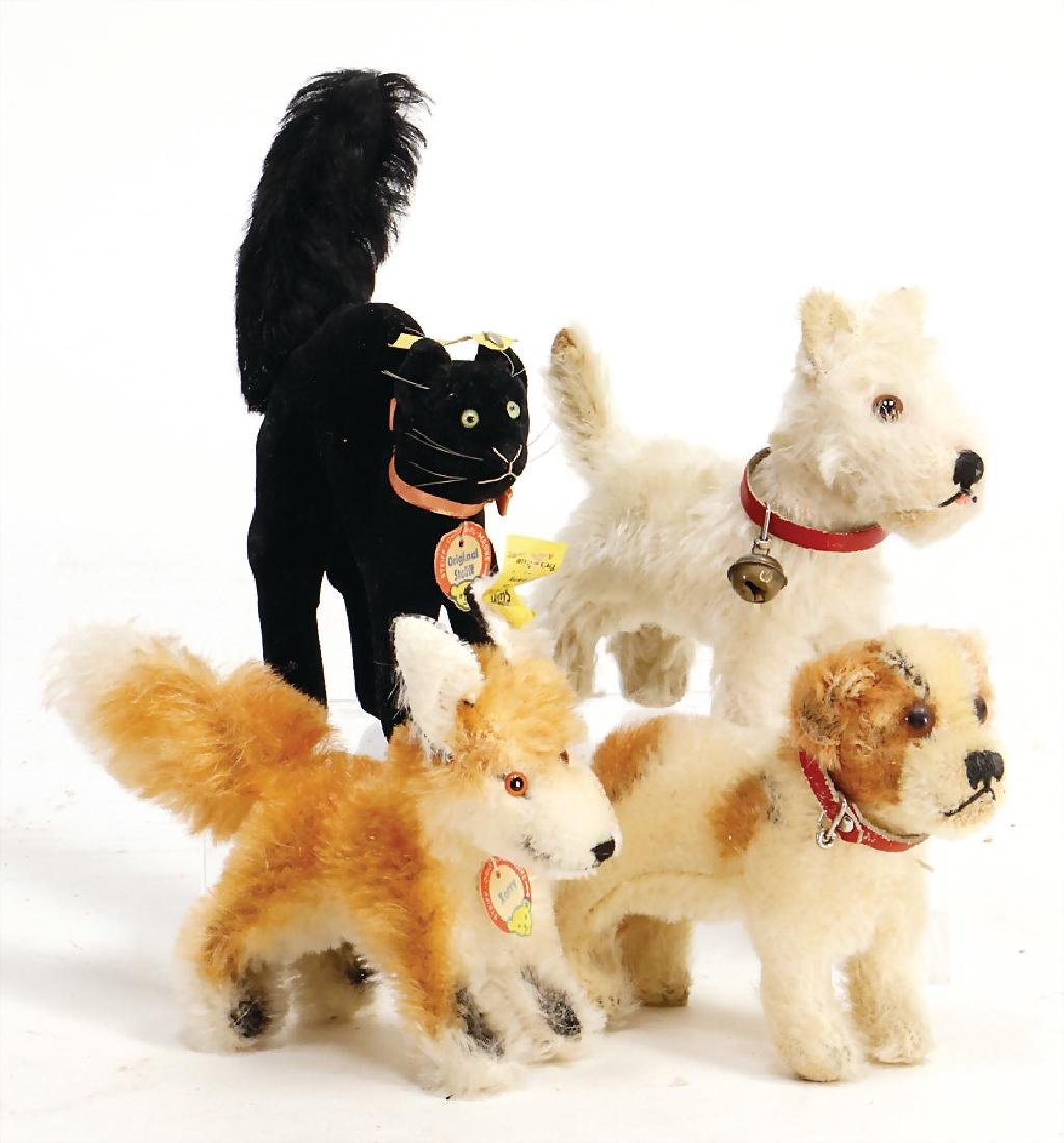 STEIFF mixed lot, 2 dogs, used condition, 1 Caesar, 1
