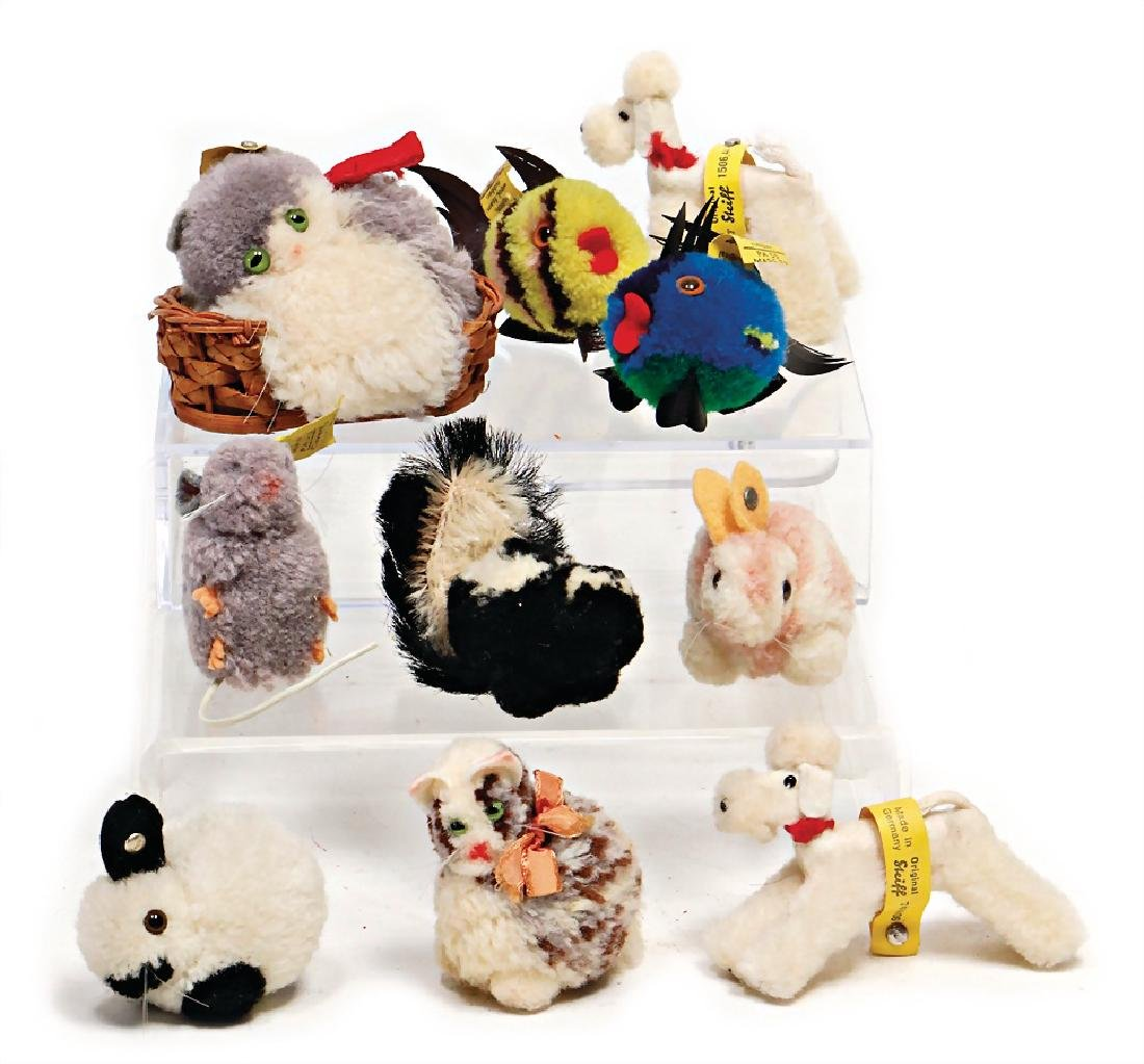 STEIFF mixed lot with 10 pieces, wool miniatures, cat,