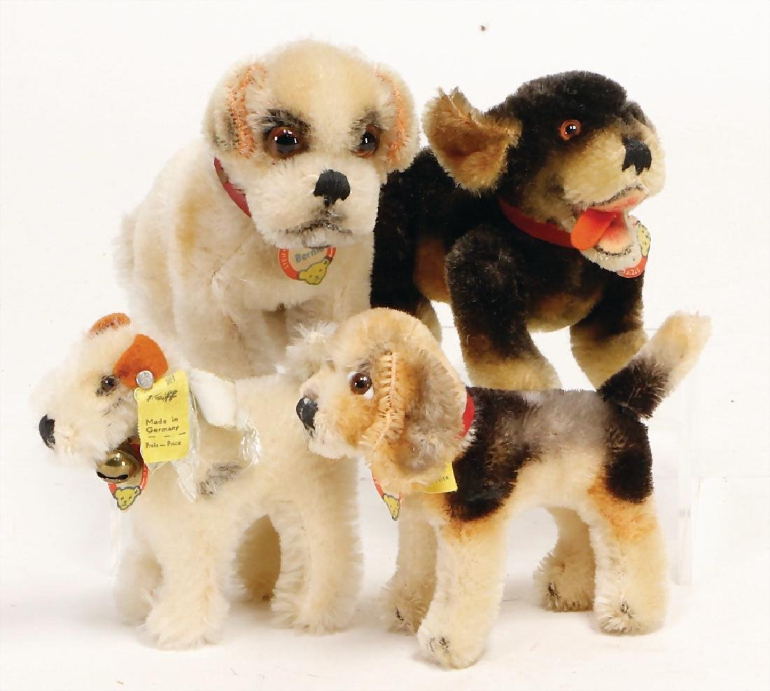 STEIFF 4 pieces dogs, Beppo, 5-fold jointed, complete,