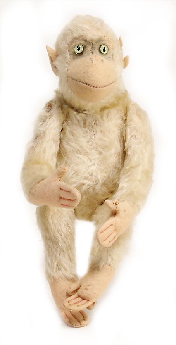 STEIFF monkey, pre-war era, without button, white
