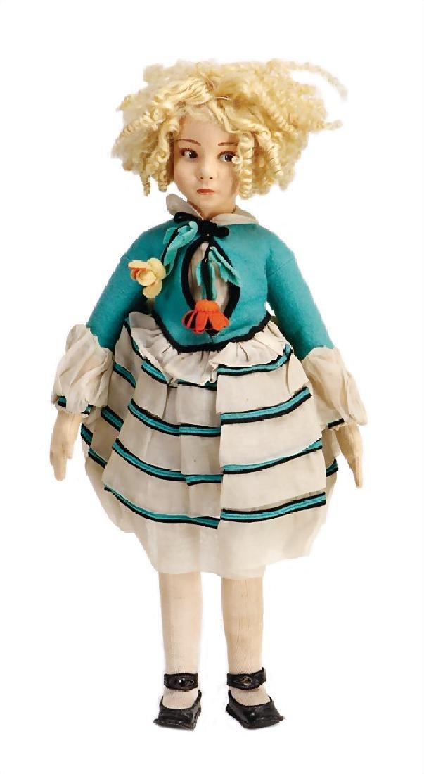 LENCI doll, felt head, fine, brown to the side looking