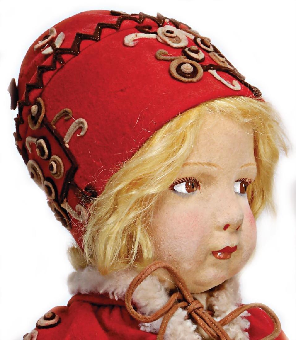 LENCI Russian girl, swivel felt head, brown painted - 2