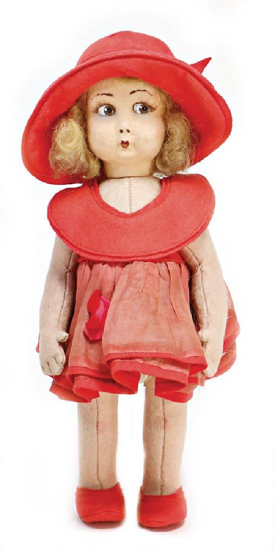 LENCI girl, swivel felt head, with to the side looking