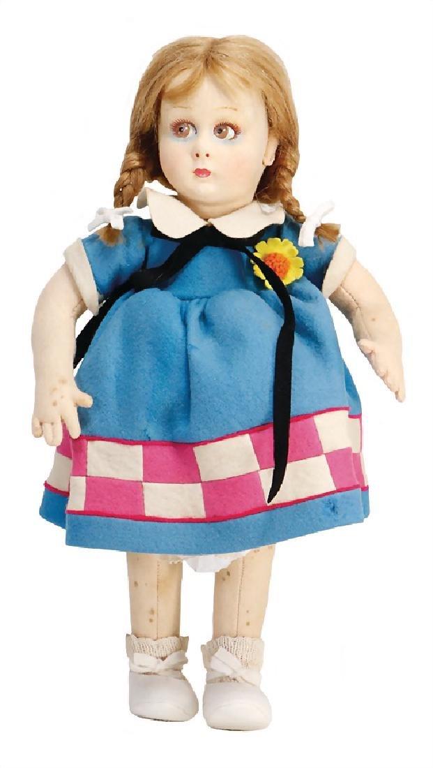 LENCI girl, swivel felt head, circular, big to the side