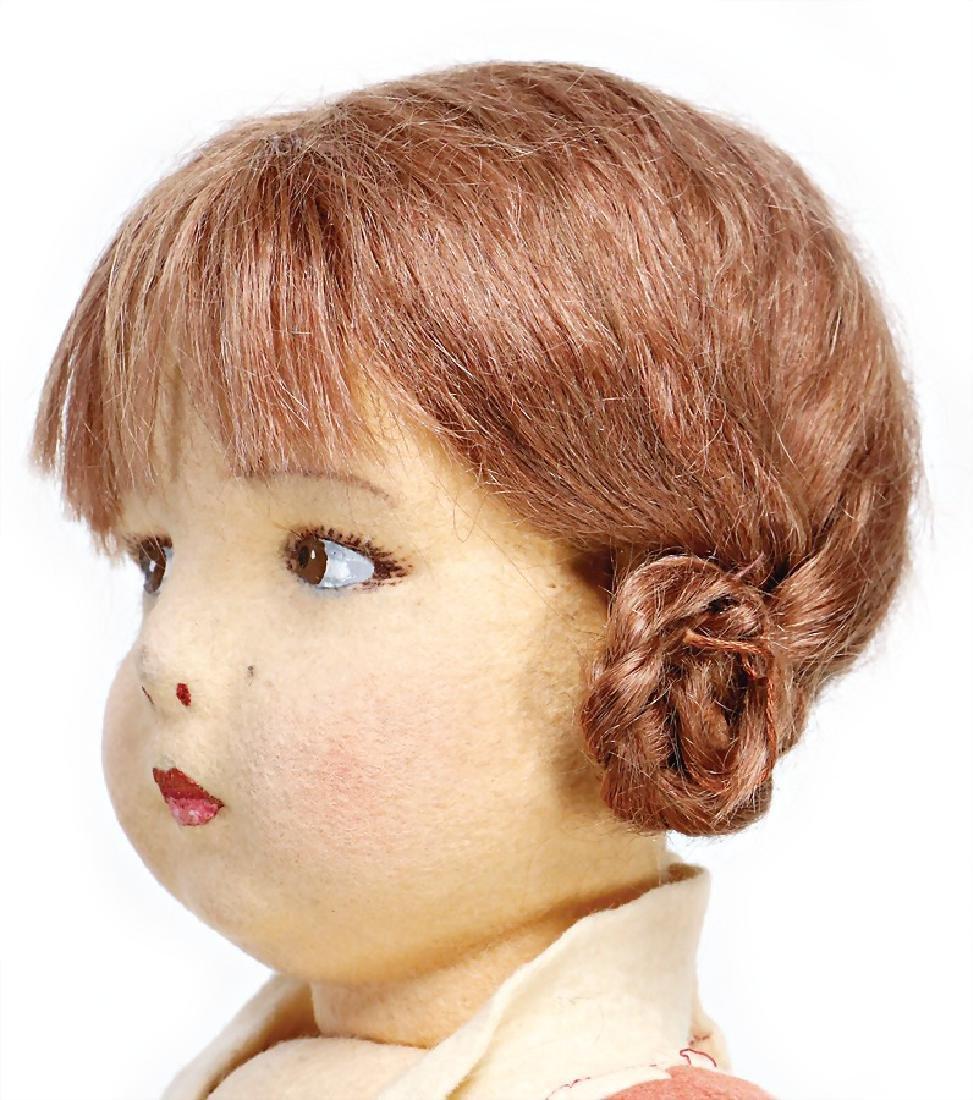 LENCI felt doll, swivel felt head, at the side looking, - 2