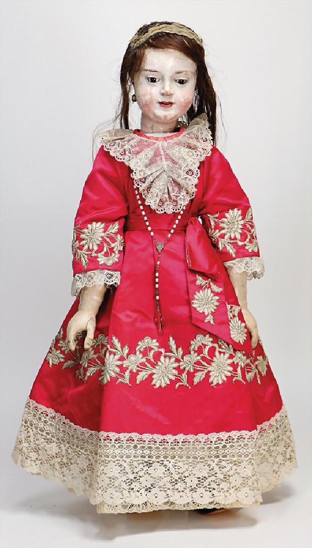 early wooden doll, 66 cm, fix inset brown glass eyes,