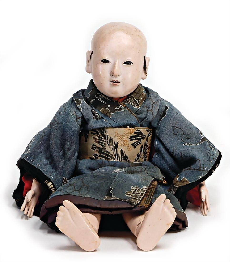 Japanese muschelkalk doll, c. 1890, 40 cm, muschelkalk