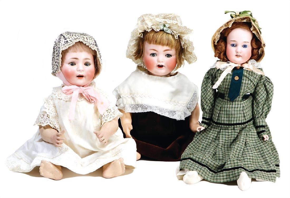 mixed lot of  3 bisque head dolls, Burggrub baby, 7