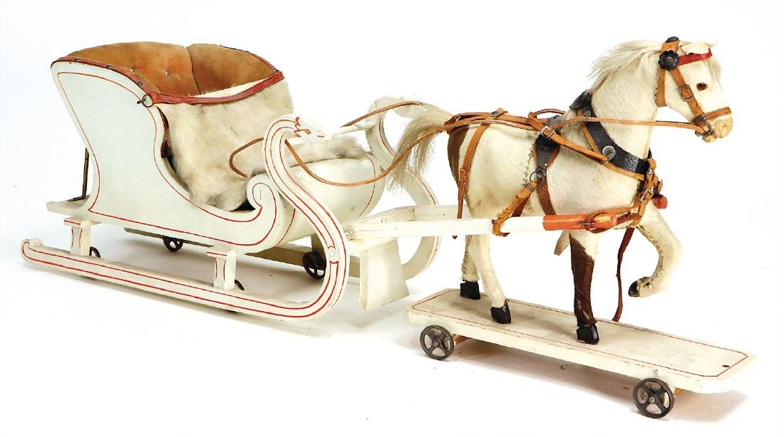 horse with sledge, c. 1890, 70 cm, horse made of wood