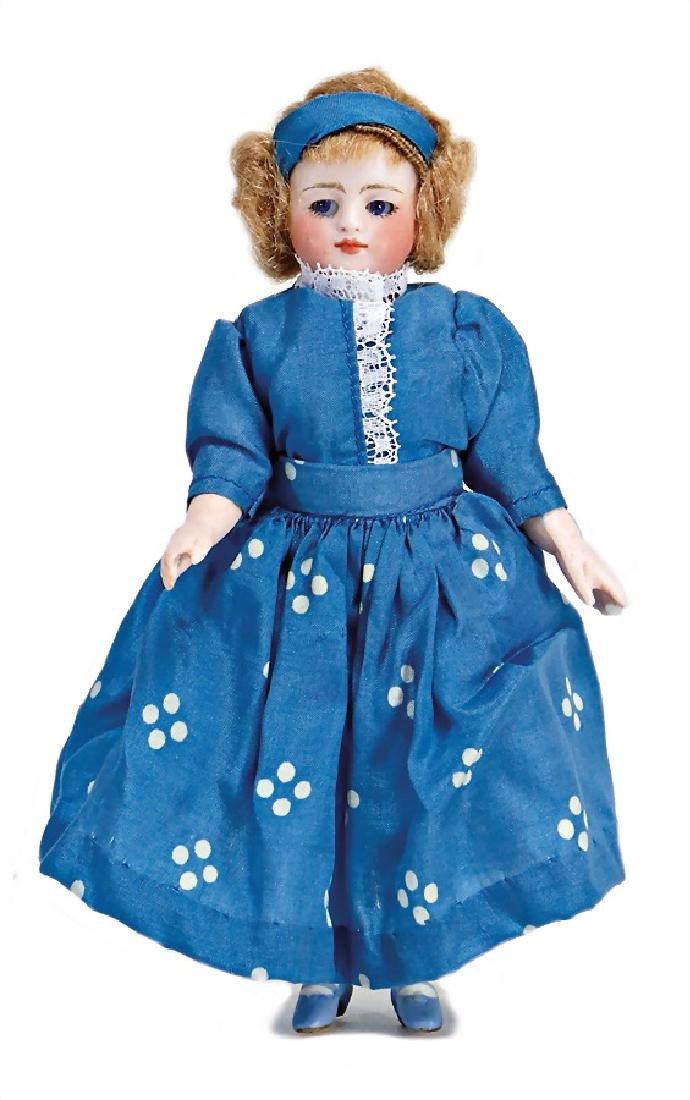 Mignonette, all-bisque doll, 16 cm, socket head, blue,