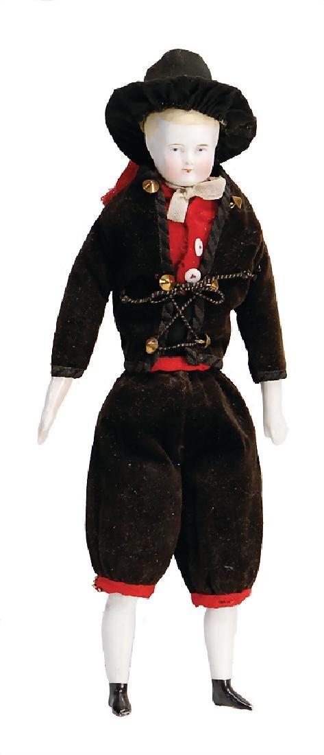 biscuit porcelain shoulder headed doll, boy, 23 cm,