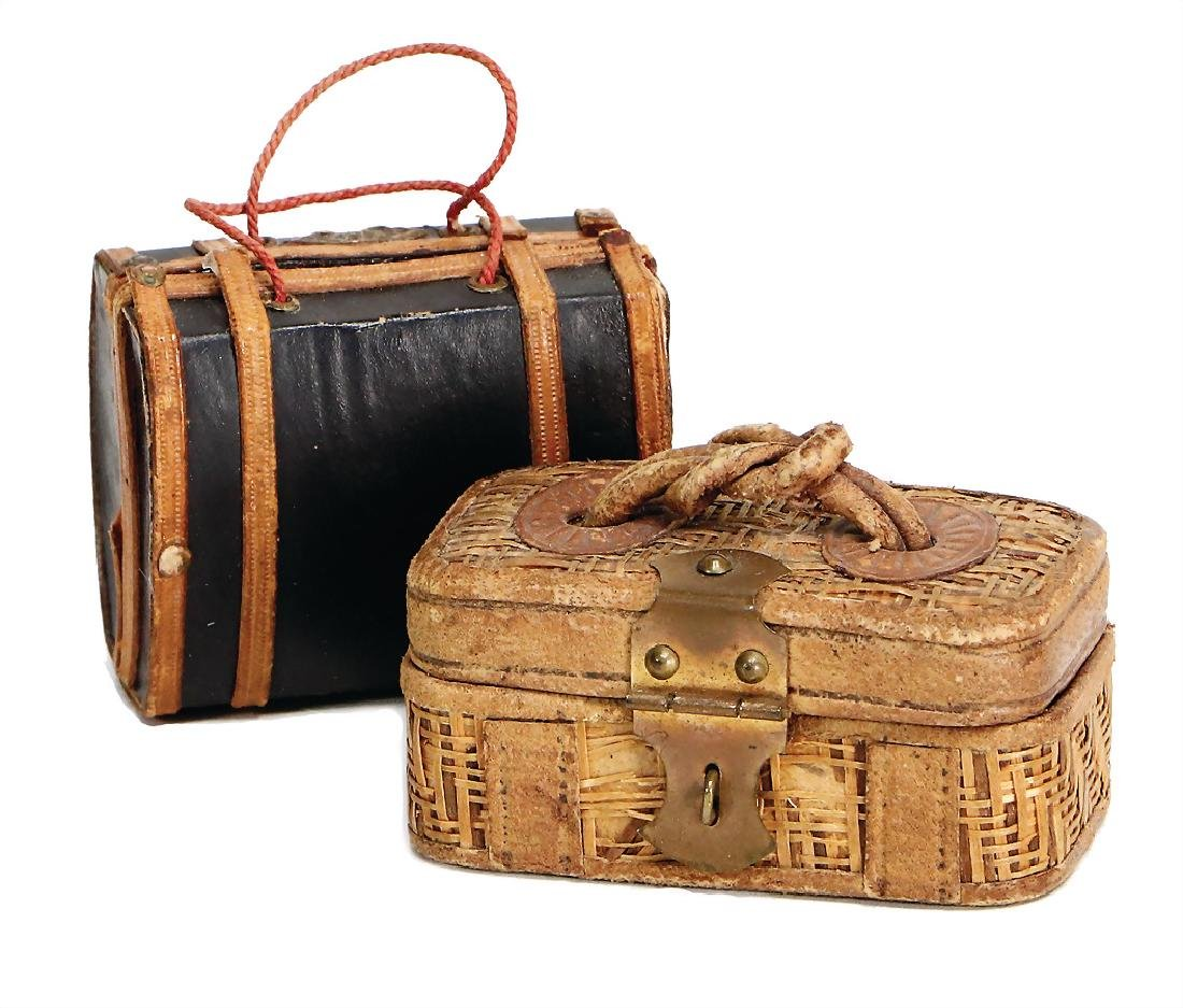 2 suitcases for fashion doll, 6 cm, leather/raffia,