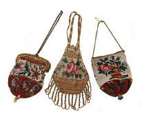 mixed lot of doll bags, around 1900, unusual bead