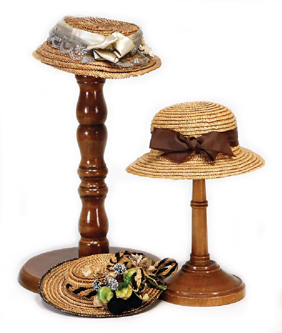 accessories for Bebe, 3 x doll hats, straw-plaited,