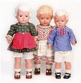 SCHILDKRÖT 3 Celluloid-Puppen, 1x Inge, gem. 49, 1x