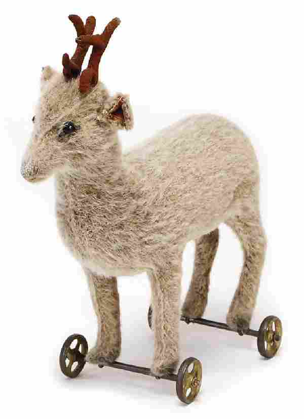 STEIFF deer, produced 1908, with button, long stretched
