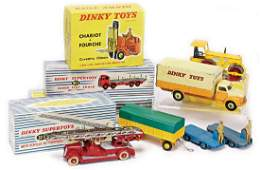 DINKY TOY truck, forklift truck, fire engine, partially