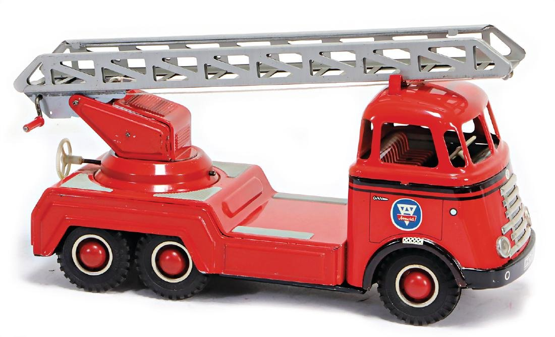 ARNOLD fire engine, cart, 3-axled, 28 cm, sheet metal,