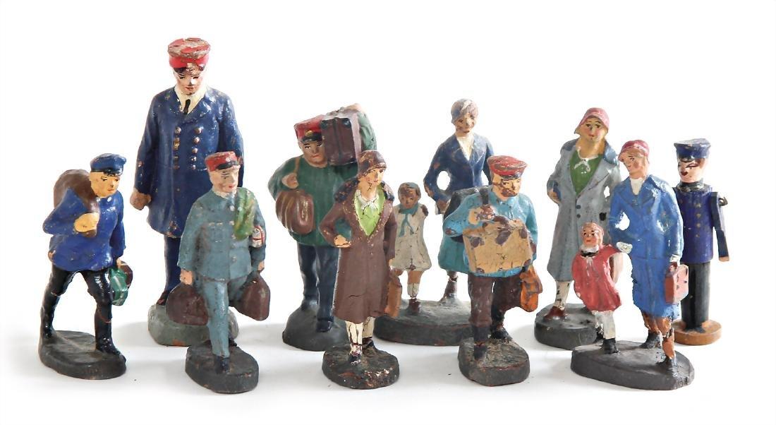 ELASTOLIN 9 pieces, mass, figures, set, 5.5 cm, railway
