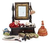 dollhouse tiltable mirror, 14 cm, small fan, hand