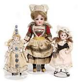 3 dollhouse dolls, girl, 13.5 cm, bisque socket head,