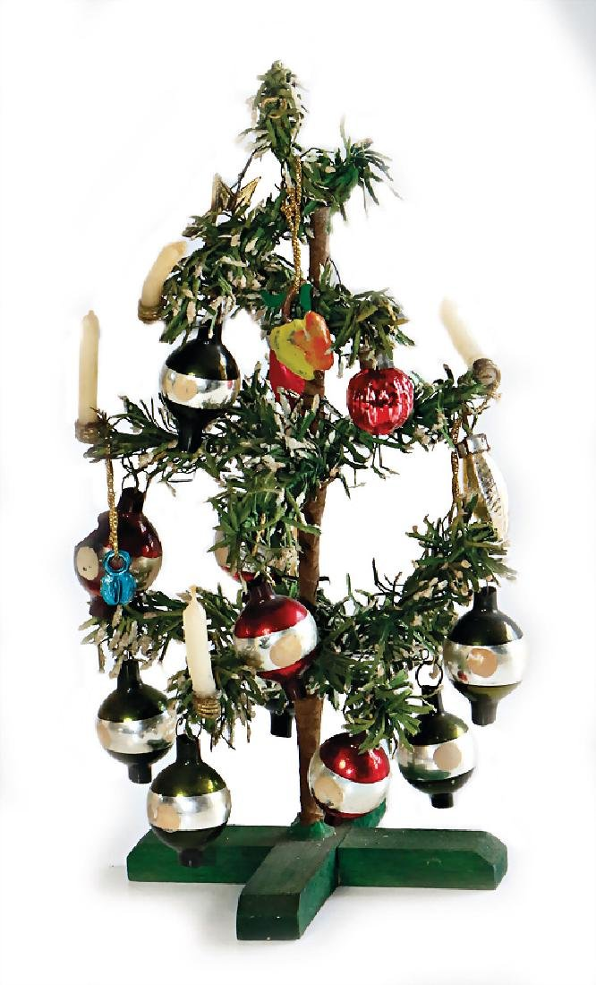 Dollhouse Christmas Tree 18 Cm Decorated With Mirror