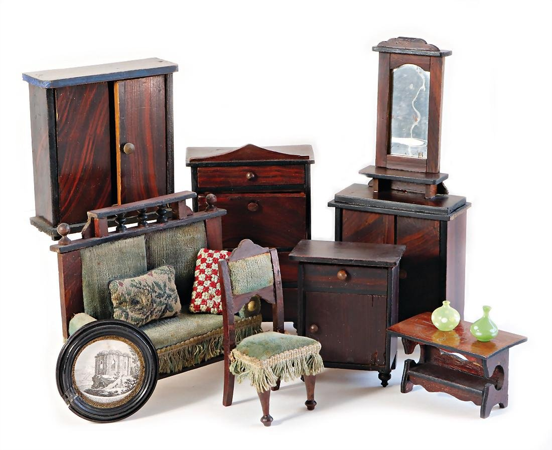 mixed lot of  dollhouse furniture, 1890-1910, mirrored