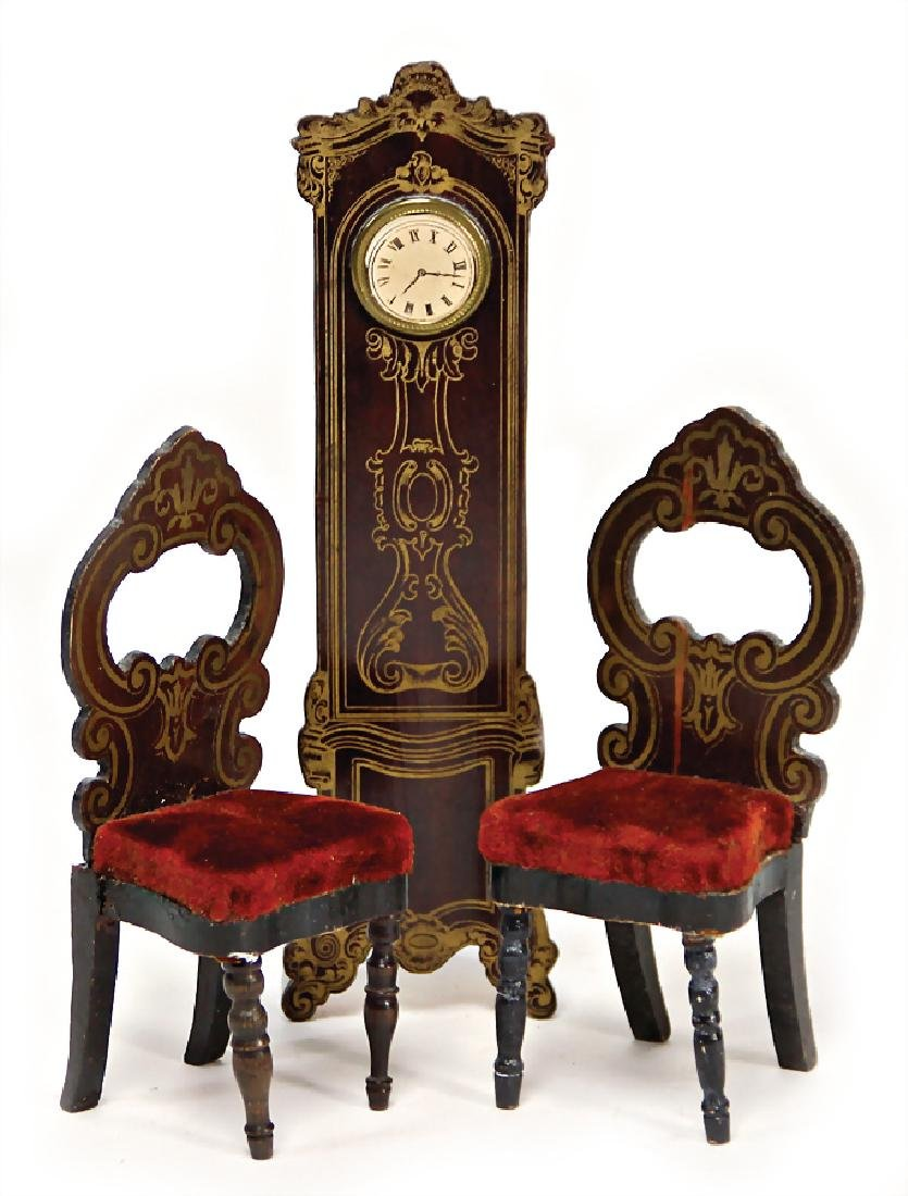dollhouse grandfather clock, with Bóulè ornaments, 17.5