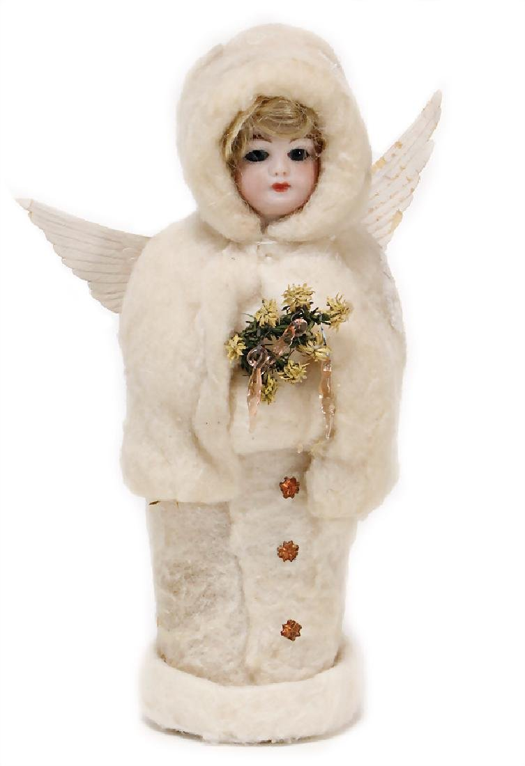 candy  container, angel with bisque face, cotton wool