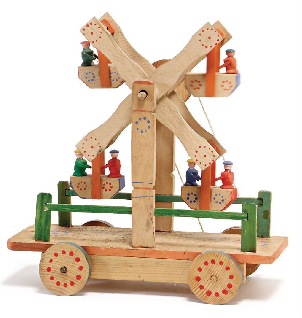ERZGEBIRGE pull game, ferris wheel, wood, partially