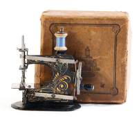 CASIGE sewing machine, No. 0, gold / green decor, in