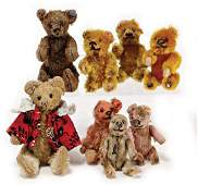 mixed lot of 6 small SCHUCO bears, strongly used, 1