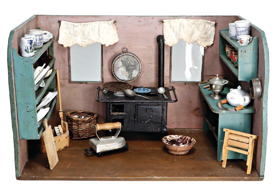 Puppenstuben-Küche, um 1900, B: 57 cm, H: 35 cm, mit