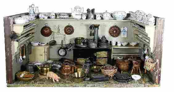 Puppenstuben-Küche, ca. 1890, B: 78 cm, H: 35,5 cm,