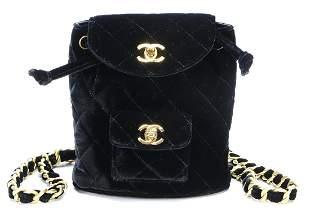 CHANEL rucksack, velvet, diamond stitching, gilded