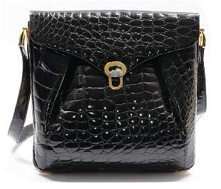 handbag alligator black patent leather gold colored