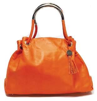 FURLA handbag orange leather with silvercolored