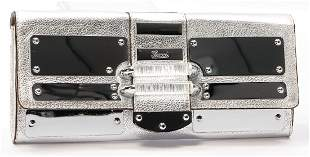 GUCCI clutch silver colored calf leather with mirrored