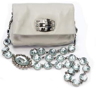 MIU MIU handbag light gray lambs leather