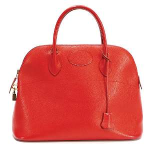 HERMEgraveS handbag cherryred leather model
