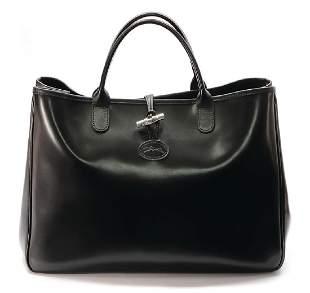 LONGCHAMP handbag black bright calf leather 2