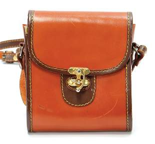 handbag brown leather goldcolored clasp height 6