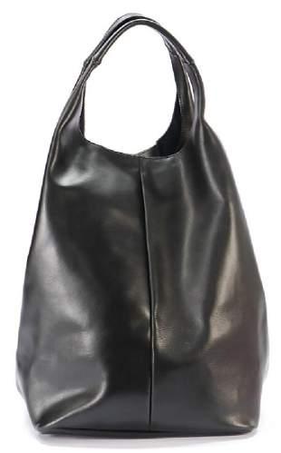 JIL SANDER handbag trapezoid smooth black leather 2