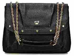 MCM handbag black nappa leather gold colored