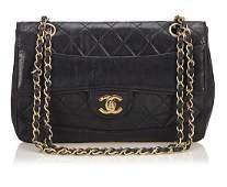 CHANEL handbag, black leather, model: Matelasse Flap